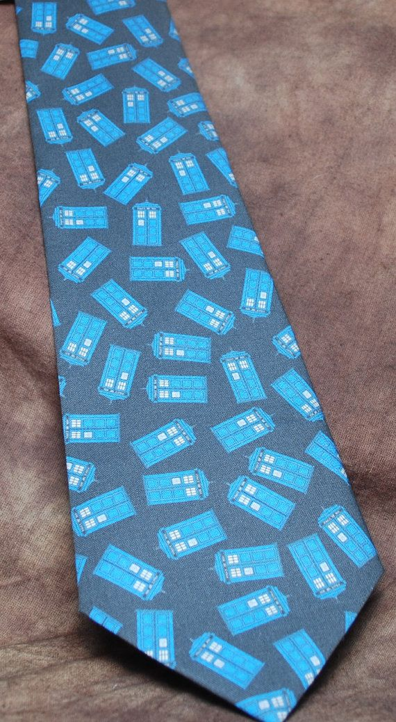Police Boxes black neck tie by AbandonedWarehouse on Etsy #tardis