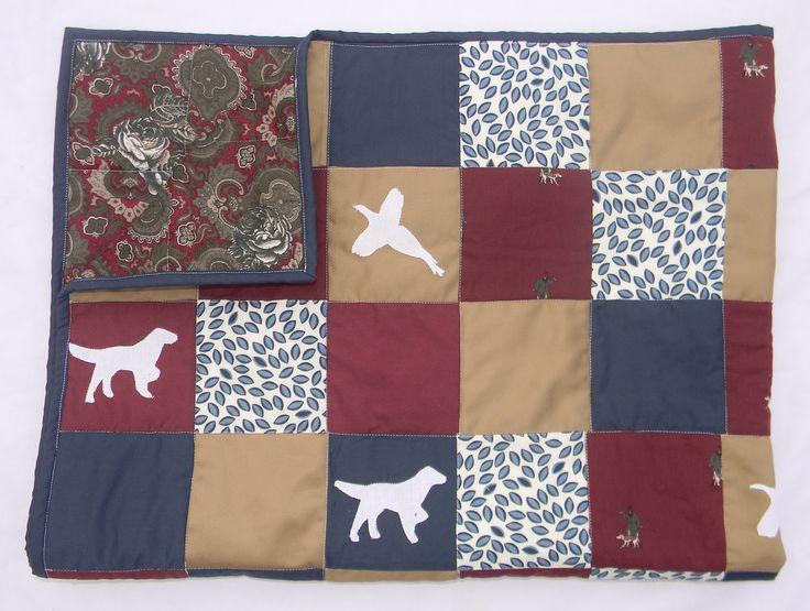 Homemade Boy Baby Quilt - Hunting Dog Pheasant - Navy Blue Khaki Burgundy - Baby Blanket - Baby Gift boy by createdbymammy on Etsy