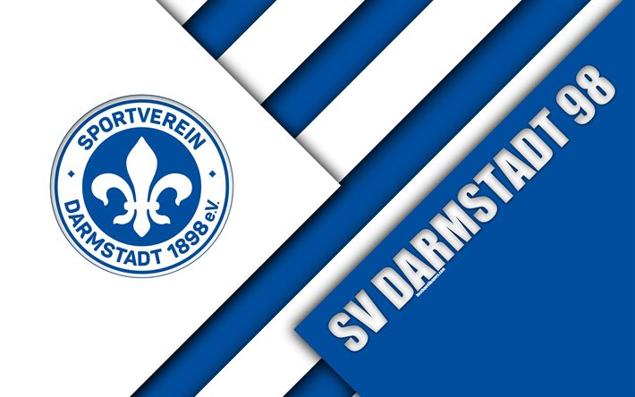 Download wallpapers SV Darmstadt 98, logo, 4k, German football club, material design, blue white abstraction, Darmstadt, Germany, Bundesliga 2, football