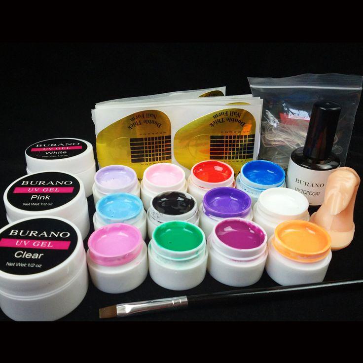 Burano Neue 12 Reine Farbe Nail art UV Gel Solide Verlängerung maniküre-set nagel kits sets nagelkunstwerkzeuge uvgelpoliermittel set