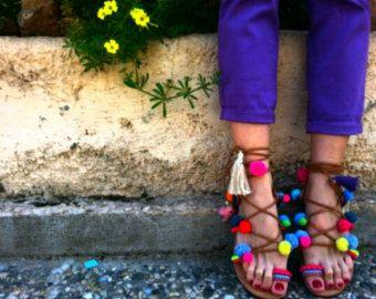 Atar sandalias gladiador sandalias griegas Pom por DimitrasWorkshop