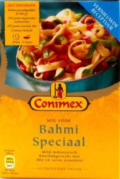 Kräuter- und Gemüsemischung fur Bami Speciaal (mildes Indonischisches Wokgericht mit Bandnudeln, Fleisch und Gemüse) aus dem Hause Conimex.