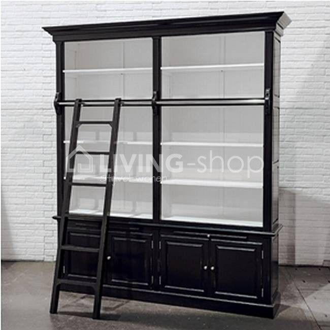 Zwarte boekenkast / bibliotheekkast met ladder #LIVINGshop.eu
