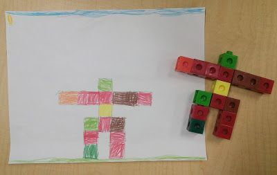 Making inukshuks with unifix cubes and draw