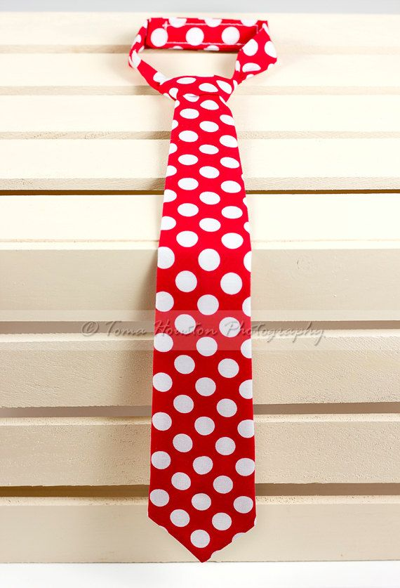 Boy's Necktie, Baby, Child-  Red, White Polka Dot (2-3 Business Day Processing)