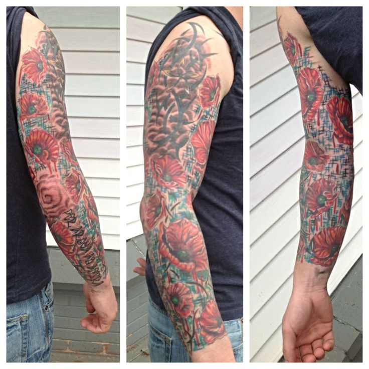 Poppy sleeve with canadian military colours tattoos for Military sleeve tattoo