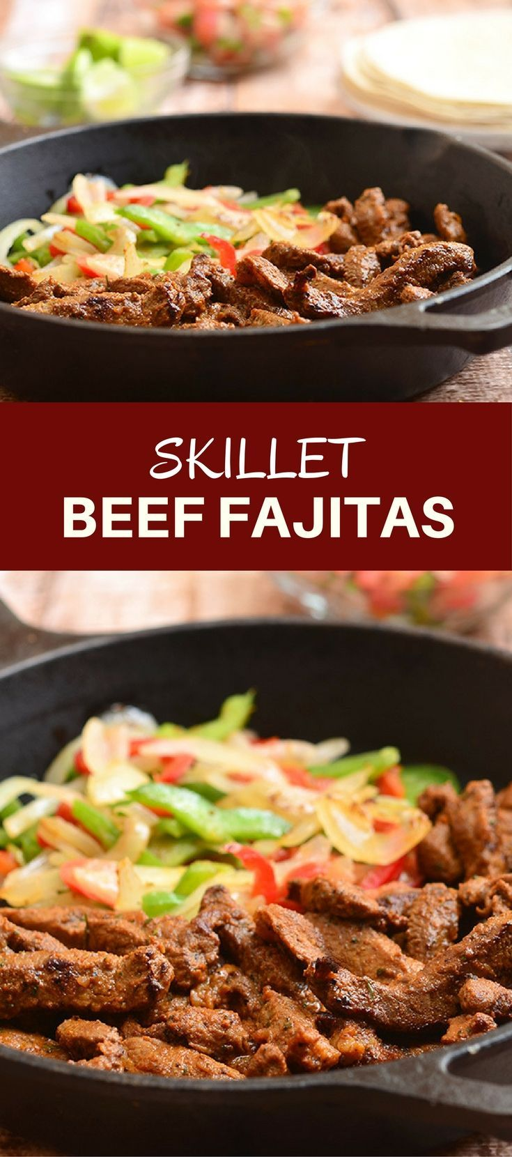 Skillet Beef Fajitas with sirloin, bell peppers, and onions marinated in lime and seasonings and seared to tender perfection. Serve with warm tortillas and your favorite fixings for an amazing Mexican feast!