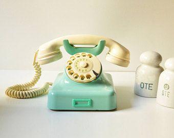 1963 Mint Green Bakelite - Cream Rotary Phone - Working - Teal - Aqua