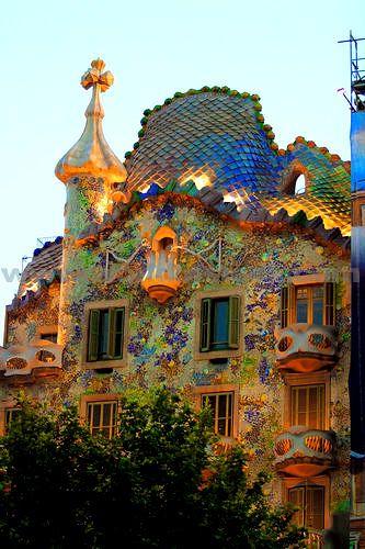 Gaudi-designed building in Barcelona.