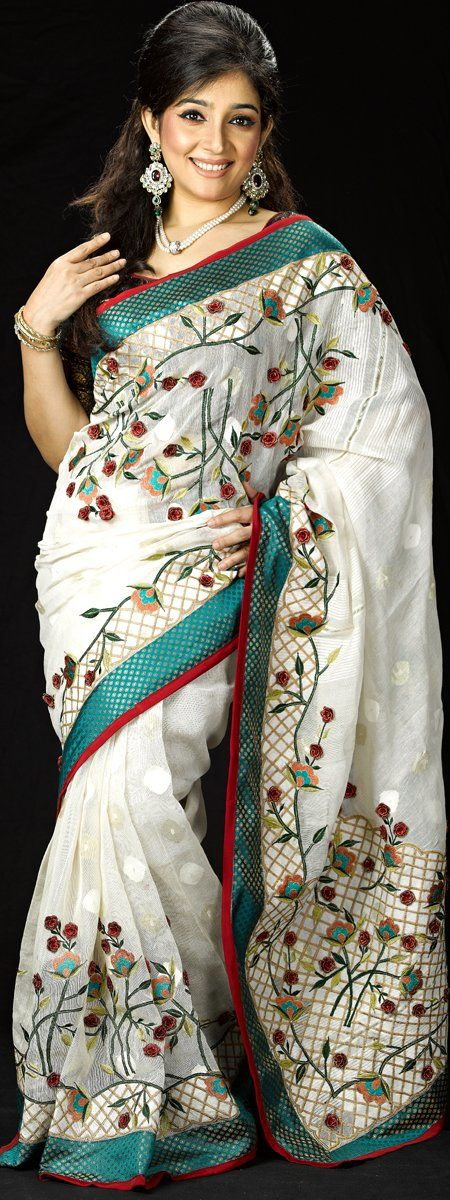 Jamdani Saree with silk paar and embroidari