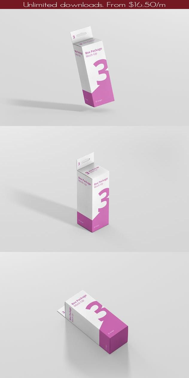 Download Package Box Mockup Small Rectangle With Hanger By Visconbiz On Envato Elements Box Mockup Box Packaging Box Design