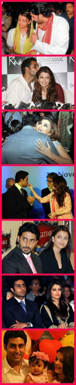 Aishwarya Rai Bachchan and Abhishek Bachchan family pics collage. #Bollywood #Fashion #Style #Beauty #8YearsOfAbhiAish