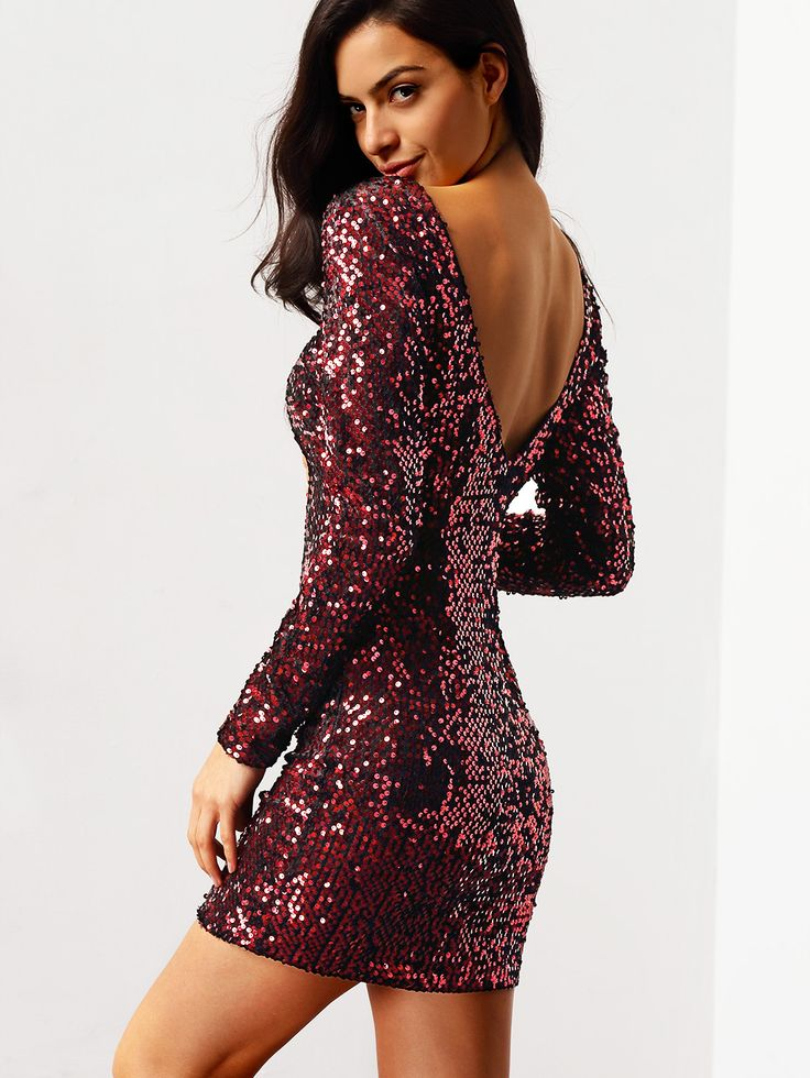 Wine Red Aubergine Long Evening Sleeve Sequined Glitzy Backless Dress