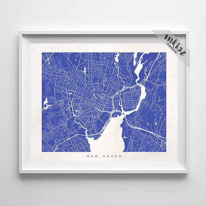 New Haven, Connecticut Street Map Print. Prices from $9.95. Available at www.InkistPrints.com #WallDecor #NewHaven