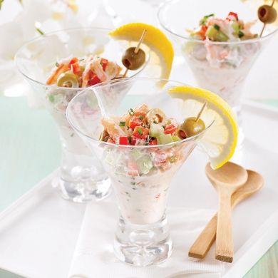 Salade de crabe en verrines - Entrées et soupes - Recettes 5-15 - Recettes express 5/15 - Pratico Pratiques - Fêtes - Noël - Recevoir