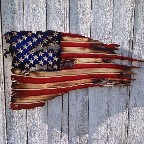 American Flag Wood American Flag Rustic American Flag Wooden