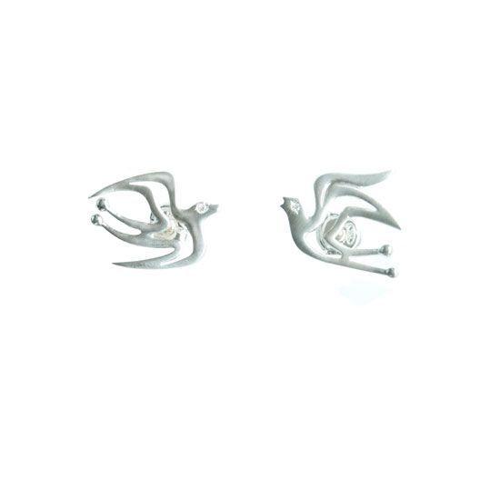 Love Birds sterling silver studs | my-precious.com