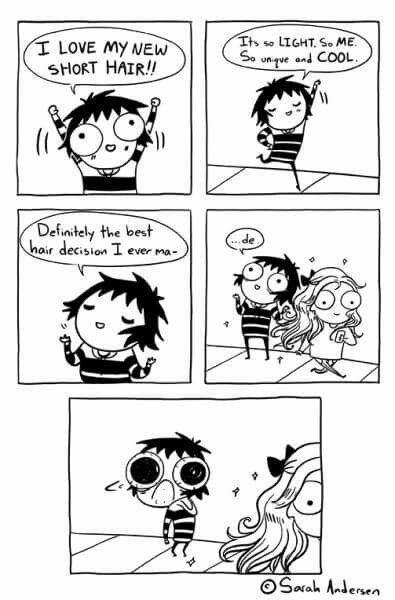 Sarah C. Andersen ☆ This is me!! I just cut my hair really short and now I want long hair lol