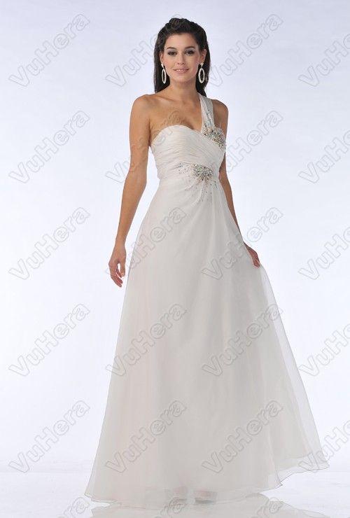 White Beaded One Shoulder Long Prom Dress