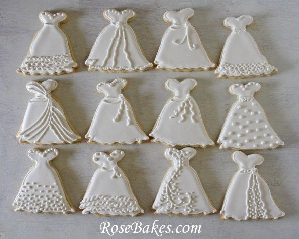 Wedding Dress Cookies   Roll-Out Sugar Cookie Recipe | http://rosebakes.com/wedding-dress-cookies-roll-out-sugar-cookie-recipe/