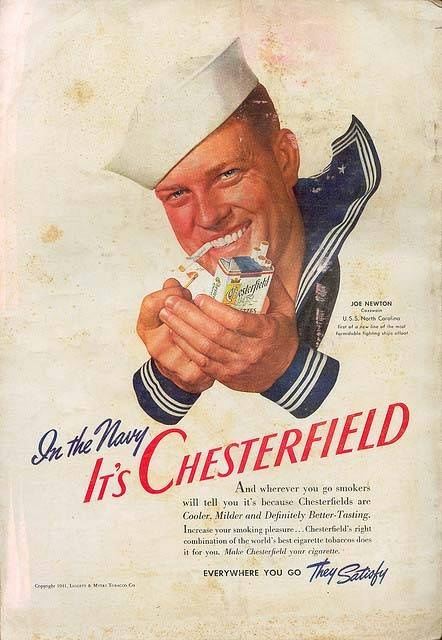 In the navy it's Chesterfield | Tabaco vintage advert