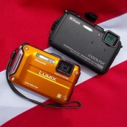 The Nikon AW100 and the Panasonic TS4 are two popular waterproof cameras. Here's a comparison of the two.  http://www.squidoo.com/nikon-aw100-vs-panasonic-ts4