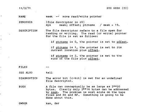"Man men: Thompson (ken) and Ritchie (dmr) authored the first Unix manual or ""man"" pages, one of which is shown here. The first edition of the manual was released in November 1971."