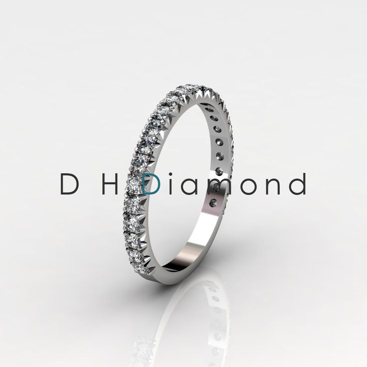 French Pave Diamond Eternity Ring, with Natural Diamonds VVS-EF,14K White Gold or Rose or Yellow. USD 583.( IND Rs.38,475/-)