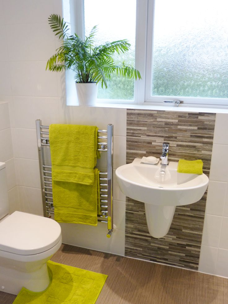 White and grey bathroom with lime accessories. By Hippo Heating ...