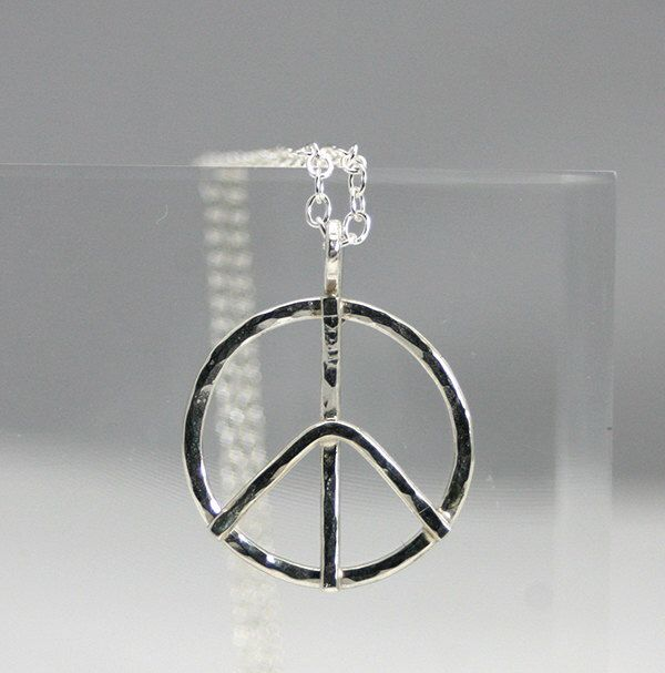 sterling silver peace sign necklace, handmade peace sign, hammered peace sign, wedding, gift, novelty, statement, eco friendly, women by CapturedIllusions on Etsy https://www.etsy.com/listing/124647248/sterling-silver-peace-sign-necklace
