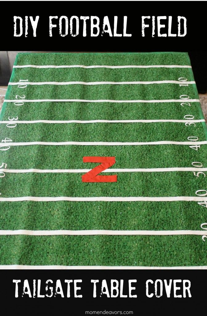 How to make an awesome football field table cover with a few supplies from the hardware store.