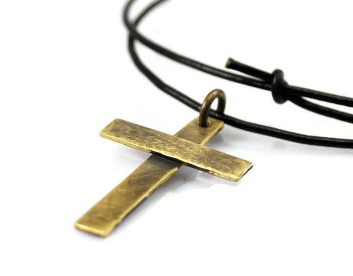 Rustic Personalized Brass Cross Necklace.