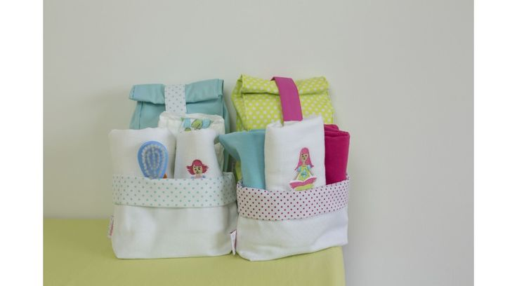 babyberry I Love Books textile containers and diaper cases with dots in pink, aqua and neon