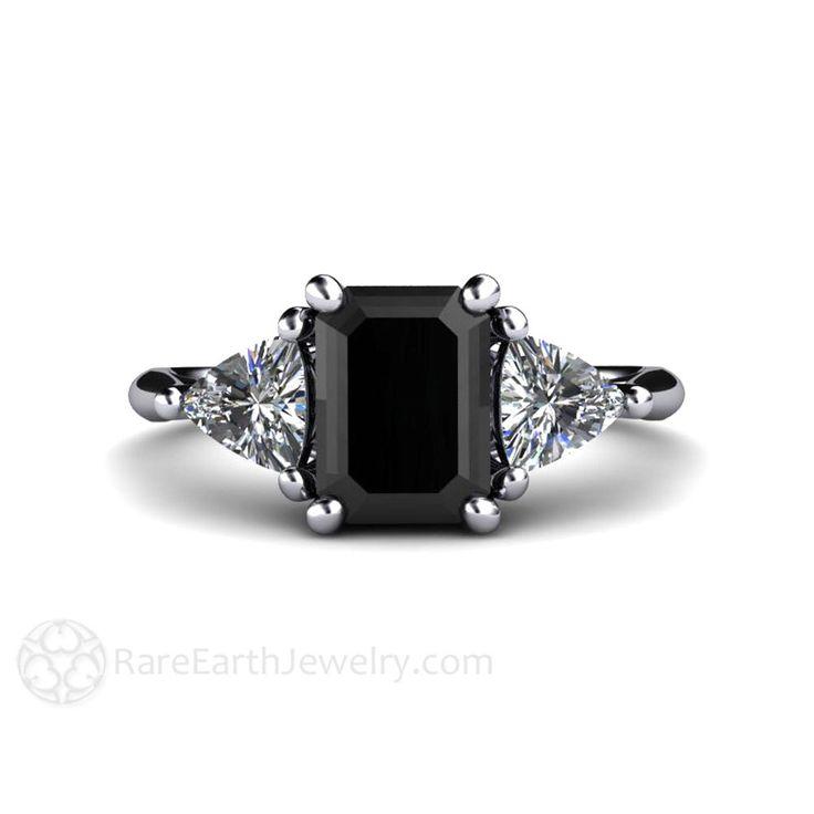 Black Diamond Engagement Ring Vintage Black Diamond Ring 3 Stone with Trillion Diamonds in Platinum by RareEarth on Etsy https://www.etsy.com/listing/217972168/black-diamond-engagement-ring-vintage