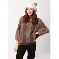 Image detail for -... Vertical Stripes Bat-Wing Sleeves Wool Blended Sweater For Women