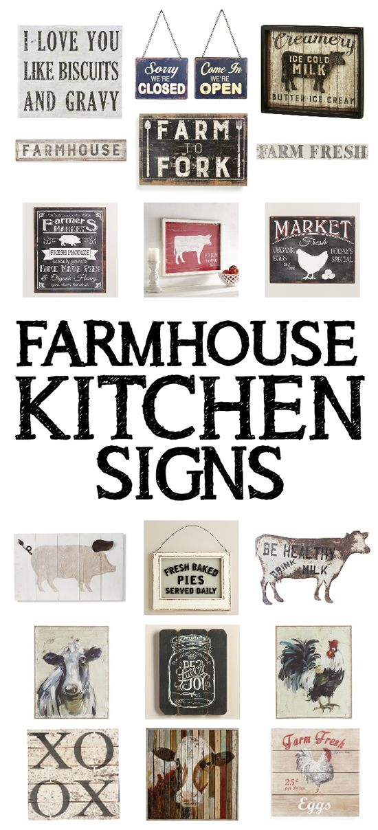 "15 farmhouse kitchen signs. I'm totally crushing on the ""I Love You Like Biscuits and Gravy"" sign and the ""Fresh Baked Pies Served Daily"" sign. So stinking cute!!"