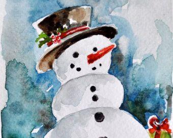 ORIGINAL peinture à l'aquarelle, carte de Noël bonhomme de neige, vacances Illustration 4 x 6 pouces