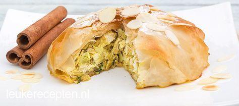 Hartig maar toch zoet Marokkaans taartje met lekker gekruide kip in een krokant jasje van filodeeg (pastilla)