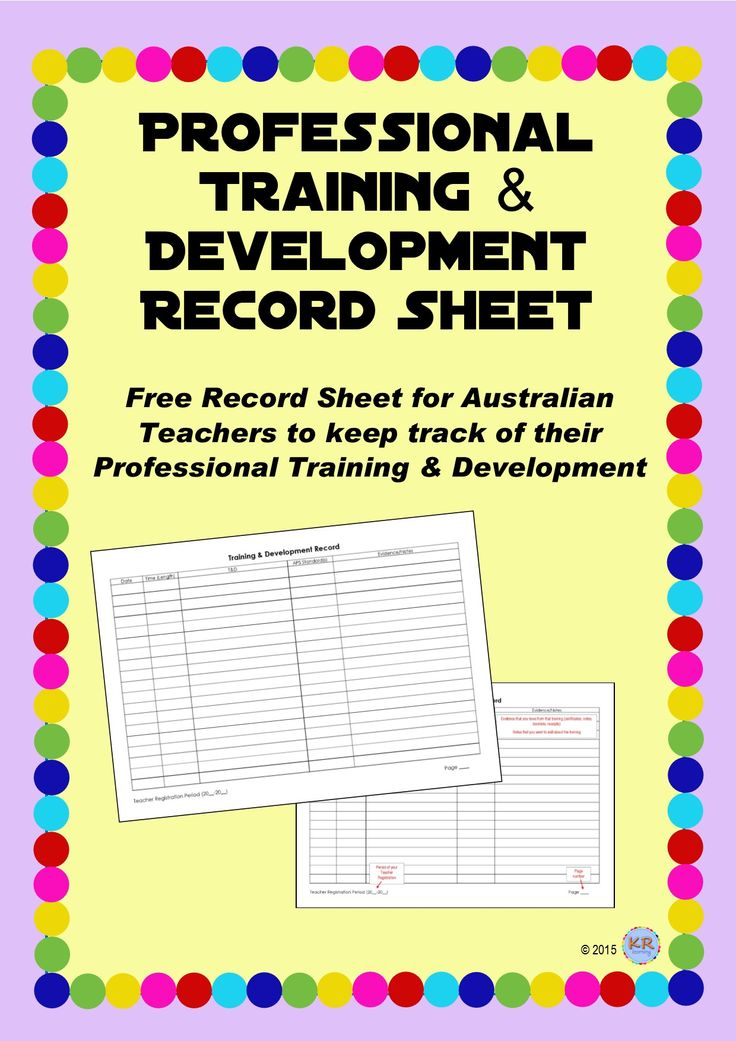 Free Professional Training & Development Record Sheet to keep track of your training and professional learning for your teacher registration.