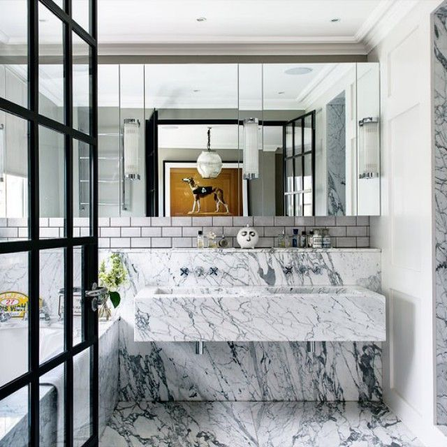 Grey And White Marble Bathroom: Black & White Marble Bathroom, White Subway Tile + Grey