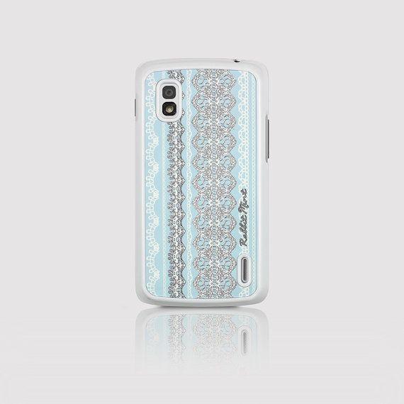 LG Nexus 4 Case   Lace on Blue D2117-NX4W by rabbitmint on Etsy
