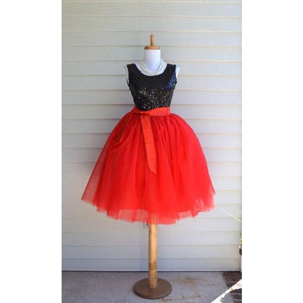 Womens Tutu Red Tulle Skirt Red Tutu Tulle Skirt Ballet Skirt... ($75) ❤ liked on Polyvore featuring dresses, black, skirts, women's clothing, tea length bridesmaid dresses, black dress, christmas dresses, red bridesmaid dresses and bridesmaid dresses