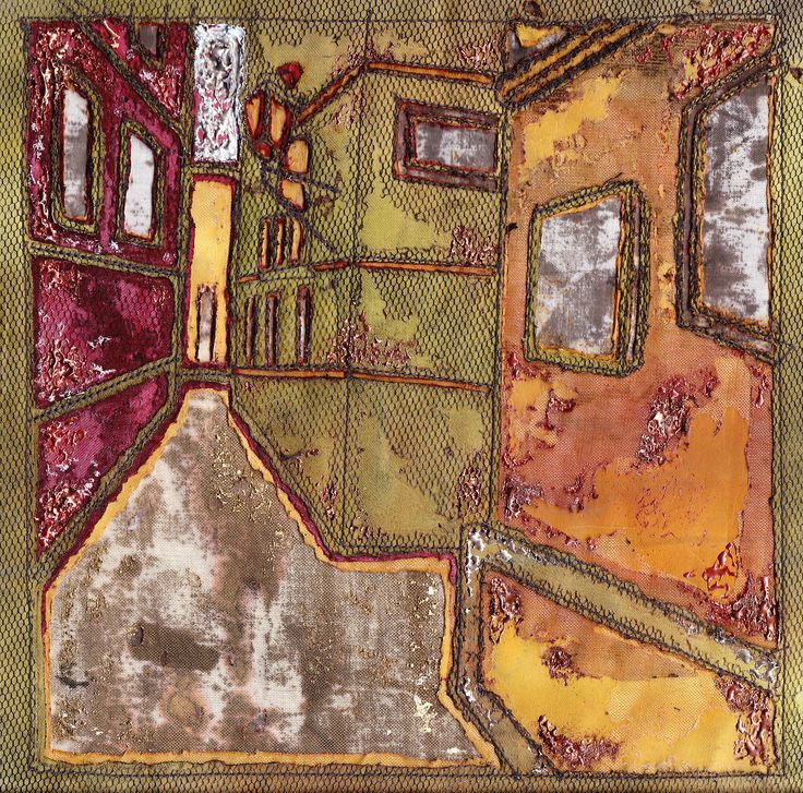 textile collage textile art, illustration, houses, building, street, hot textiles, texture
