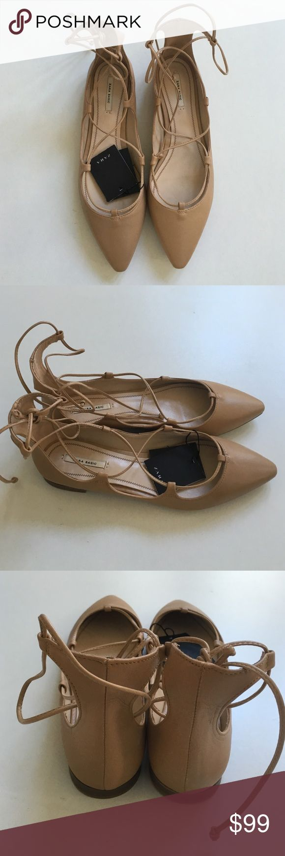 Zara Leather Lace Up Flats  Beige Tan 9 US 40 EUR 6444 Item Number, size 9 US, size 40 EUR, UK 7 Zara Shoes Flats & Loafers