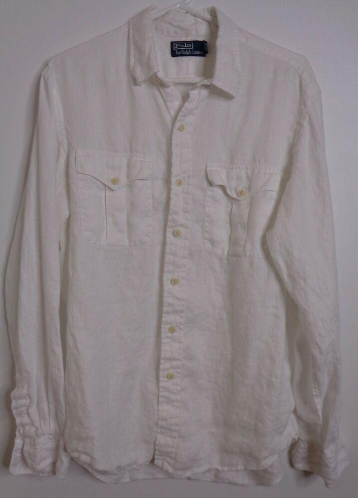 Polo Ralph Lauren Men S White 100 Linen Shirt Large Long Sleeve Button Down Poloralphlauren In 2020 Linen Shirt Polo Ralph Lauren Polo Ralph Lauren Mens