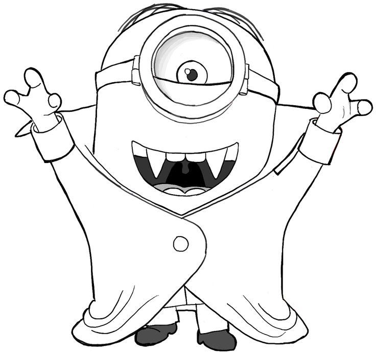 Minions coloring pages peace minion ~ Finished Drawing of Stuart, the Minion, as a Vampire ...