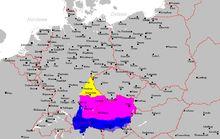 Bavarii: La Bavière, extension actuelle et divisions dialectiques du parler bavarois.- PEPIN DE LANDEN. 1) ORIGINE FAMILIALE, 6: Comme aucun document ne mentionne PEPIN comme un AGILOLFINGE, ce dernier ne peut être allié à cette famille que par les femmes. Chronologiquement, le seul lien agnatique qui rende compte de cette onomastique est que la père de Pépin de Landen soit une fille de GARIBALD, 1° duc de BAVIERE, et de son épouse WALTRADE, veuve du roi THIBAUT 1° et de CLOTAIRE 1°.