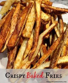 I finally created the best recipe to make homemade Crispy French Fries at home in the oven! They are healthier than fried and taste so good! | The Happy Housewife