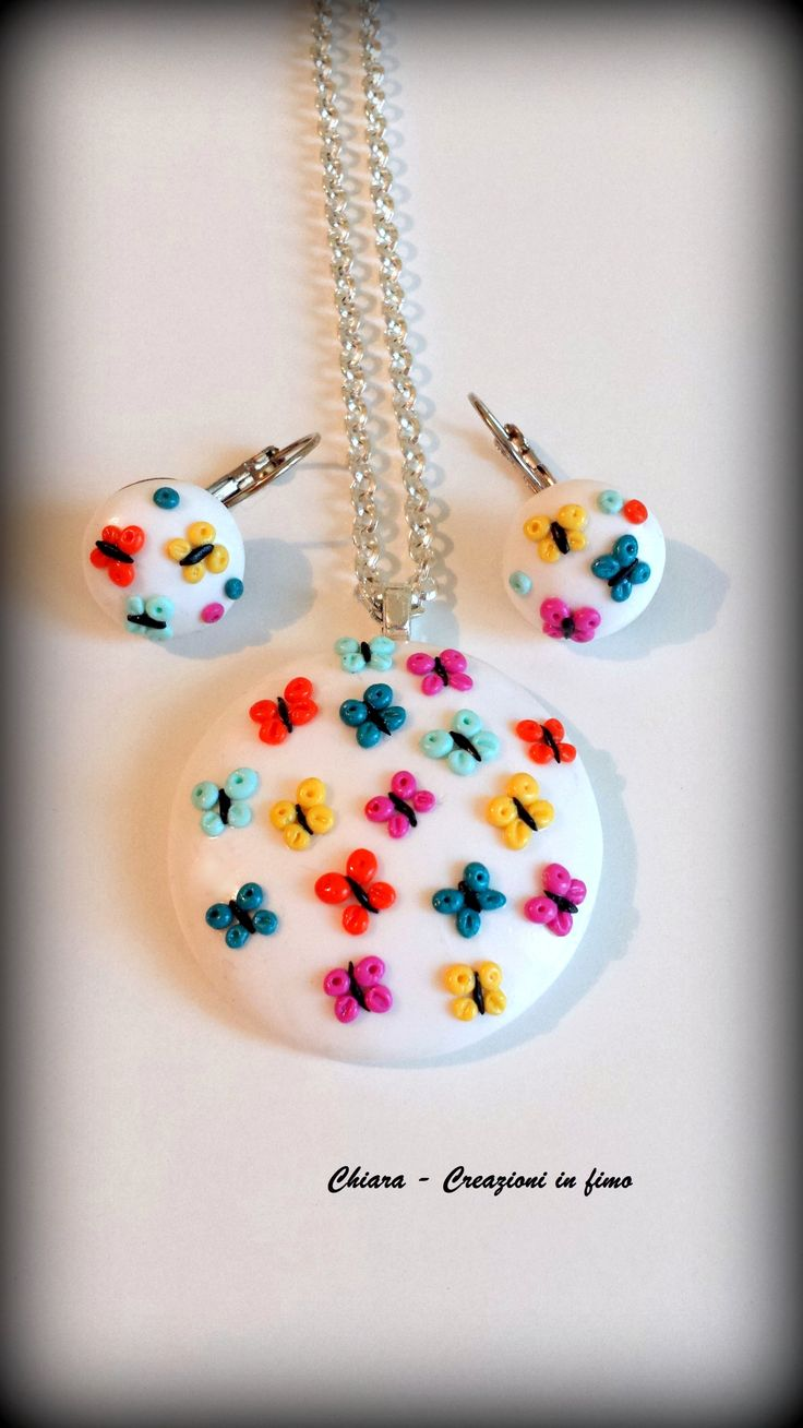 Parure in #fimo #handmade #polymerclay #butterfly #colors #fashion #style