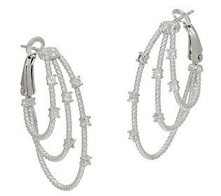 Judith Ripka Verona Sterling Multi-row Hoop Earrings